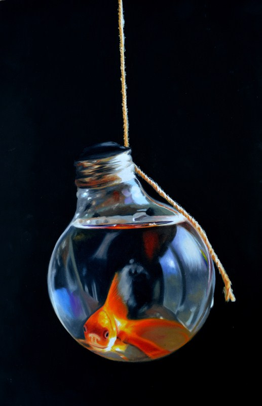 """Goldfish Lightbulb #4"" original fine art by Lauren Pretorius"