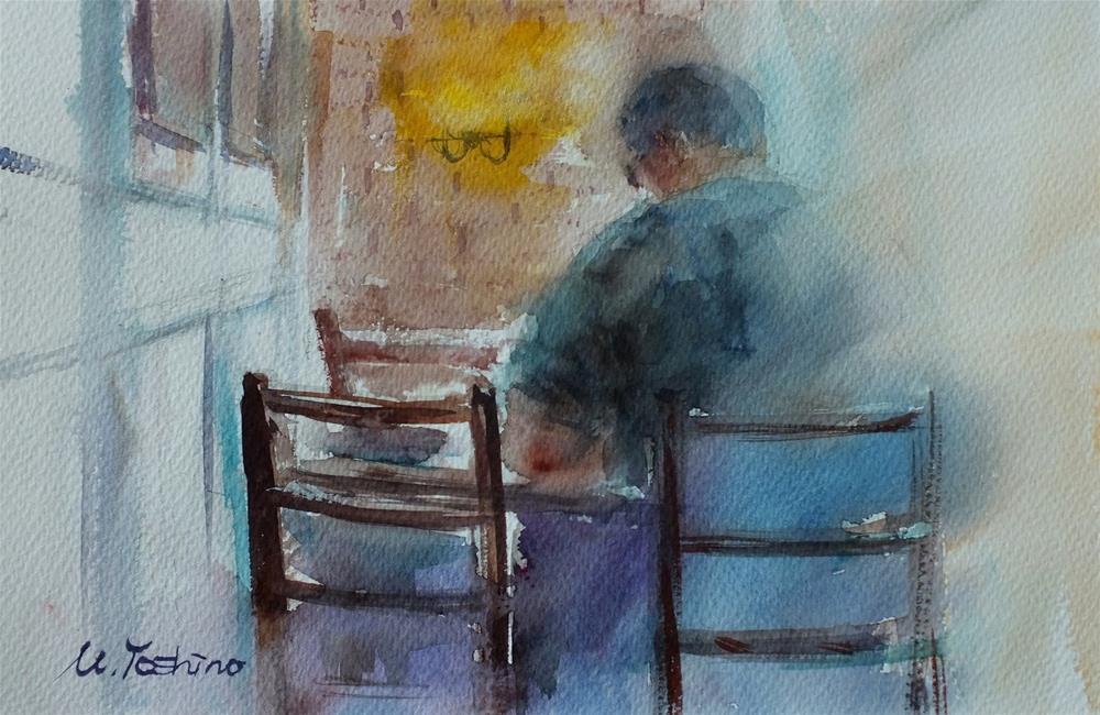 """""""La Brioche cafe in Al Ain"""" original fine art by Midori Yoshino"""