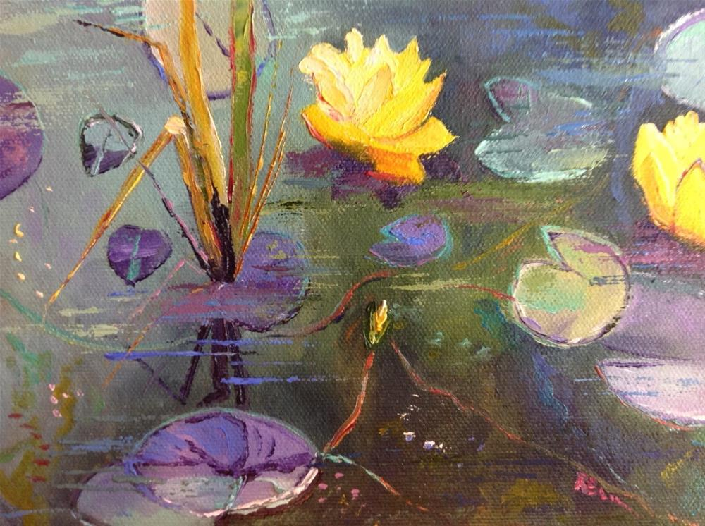 """Yellow Lily Pads in the Shadows"" original fine art by Rose Brenner"
