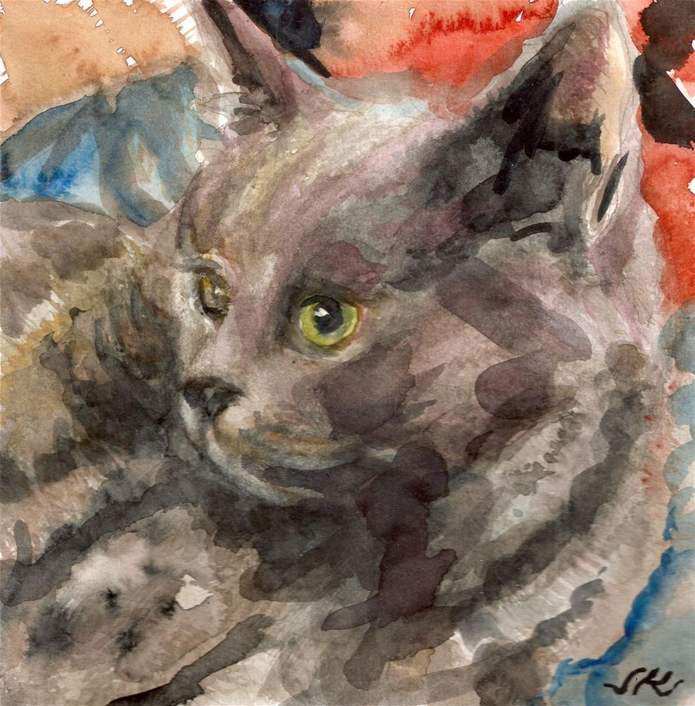 """Grey Cat"" original fine art by Jean Krueger"