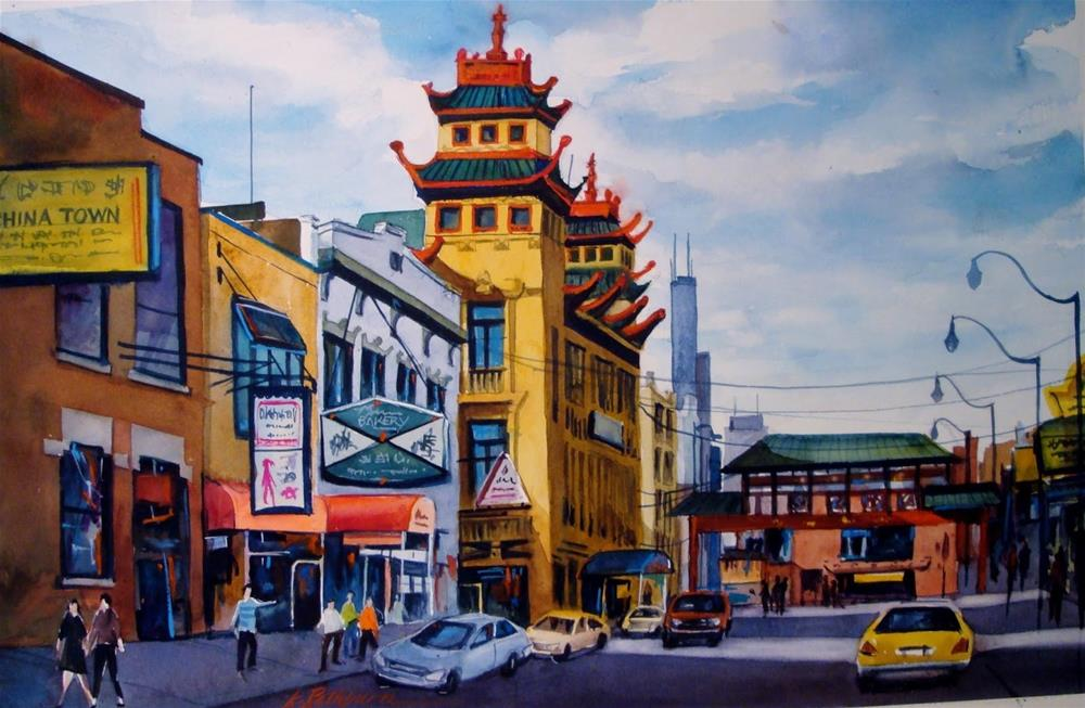 """China Town - Chicago"" original fine art by Kathy Los-Rathburn"