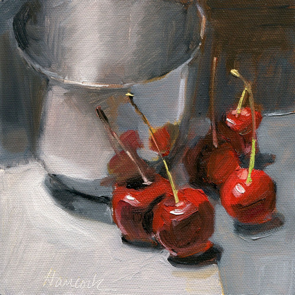 """Silver Bowl and Red Cherries"" original fine art by Gretchen Hancock"