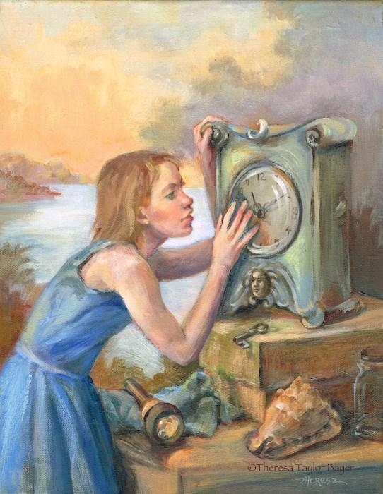 """Clock Secret"" original fine art by Theresa Taylor Bayer"