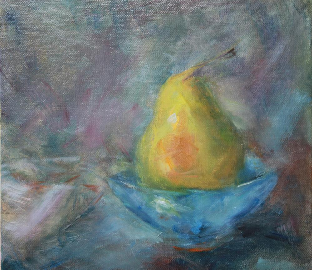 """Pear in a Bowl"" original fine art by Karen Solorzano"