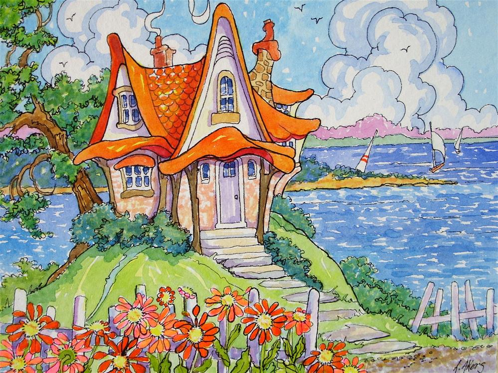"""""""A Bit of Whimsy on the Shore Storybook Cottage Series"""" original fine art by Alida Akers"""
