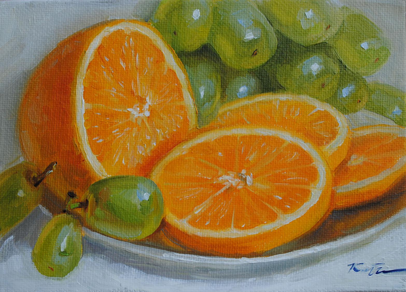 """Orange & Grapes"" original fine art by Elena Katsyura"