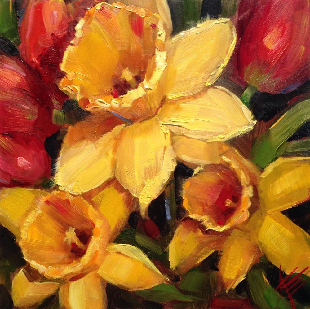 """Daffodils & Tulips"" original fine art by Krista Eaton"
