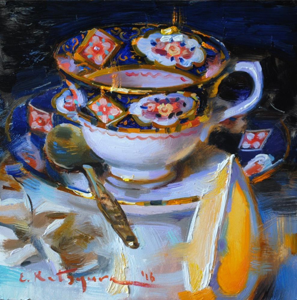 """Blue Cup and Orange"" original fine art by Elena Katsyura"
