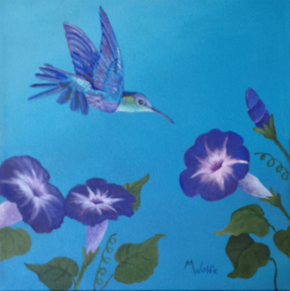 """Hummer with Morning Glories"" original fine art by Michelle Wolfe"