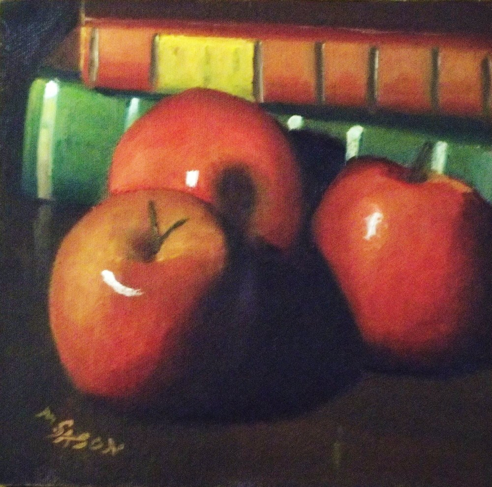 """Three red apples"" original fine art by Michael Sason"