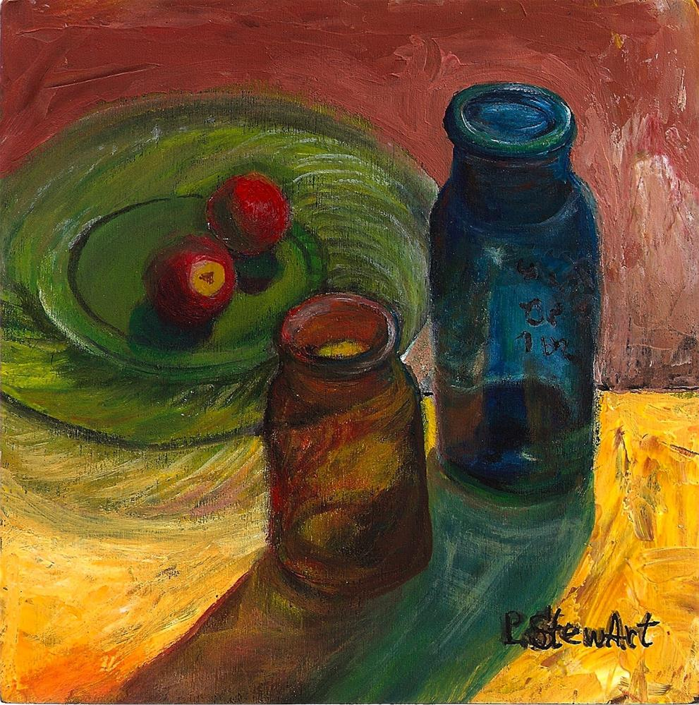"""""""6x6 Glass Shadows Bottles and Plate Radishes Green Yellow Blue Acrylic Penny StewArt"""" original fine art by Penny Lee StewArt"""