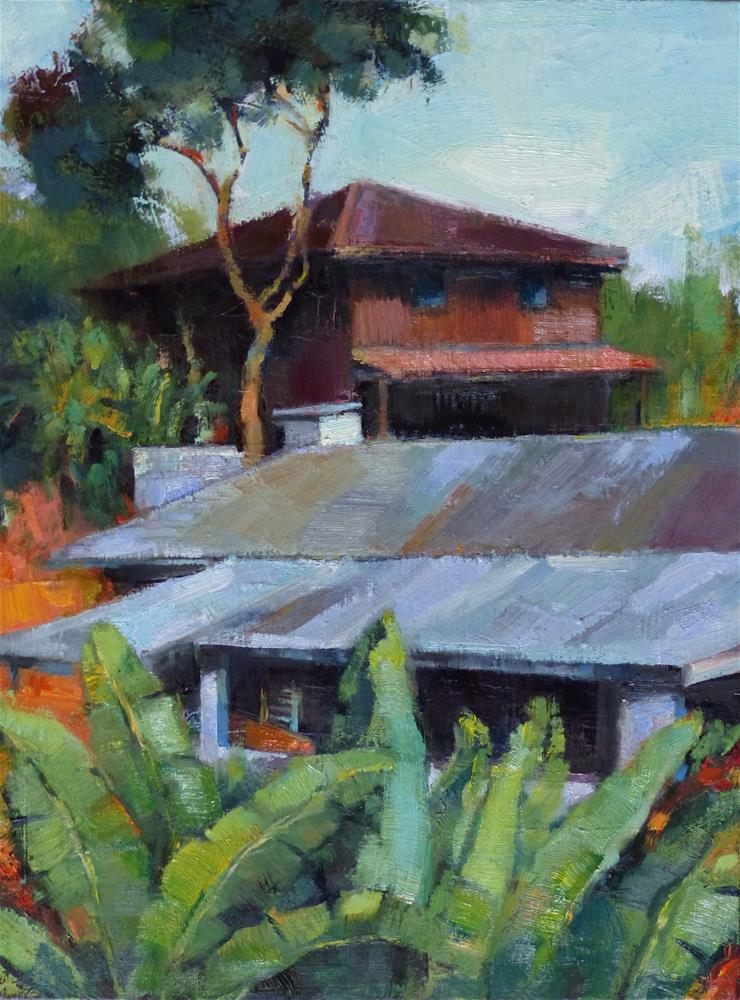 """Rooftops of Hana"" original fine art by Katya Minkina"