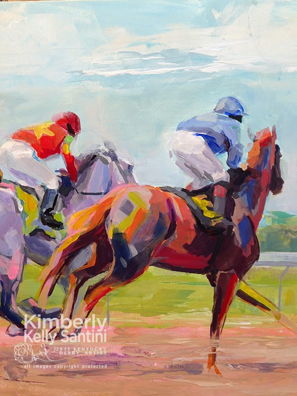 """""""In Process Detail: The First Furlong"""" original fine art by Kimberly Santini"""