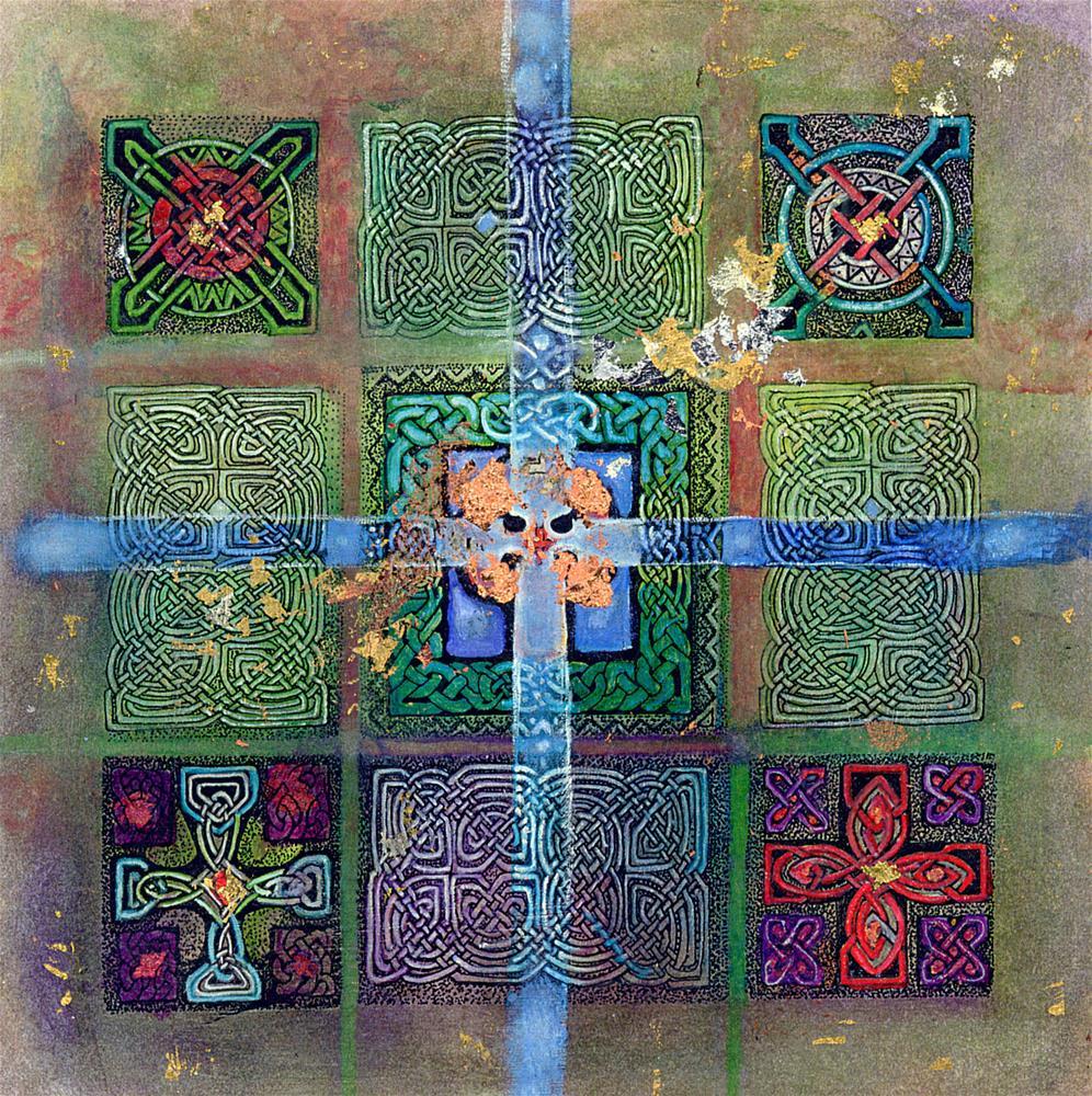 """""""Blue Copper Cross"""" original fine art by Deirdre McCullough Grunwald"""