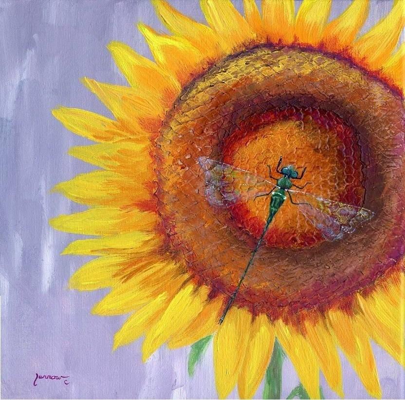 """ORIGINAL PAINTING OF DRAGON FLY ON SUNFLOWER"" original fine art by Sue Furrow"