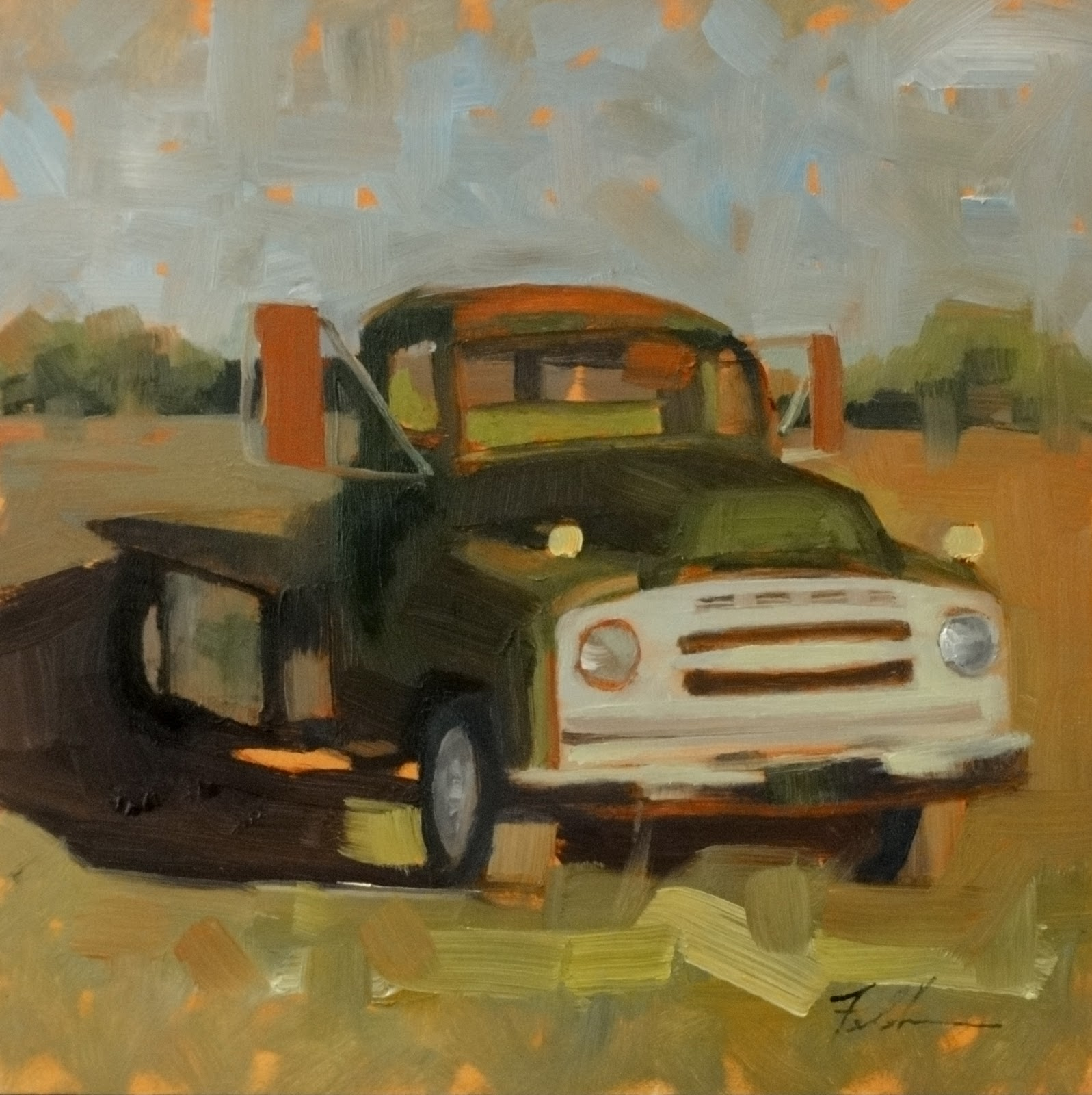 """John and Anne's Truck, 8x8"" original fine art by Ann Feldman"