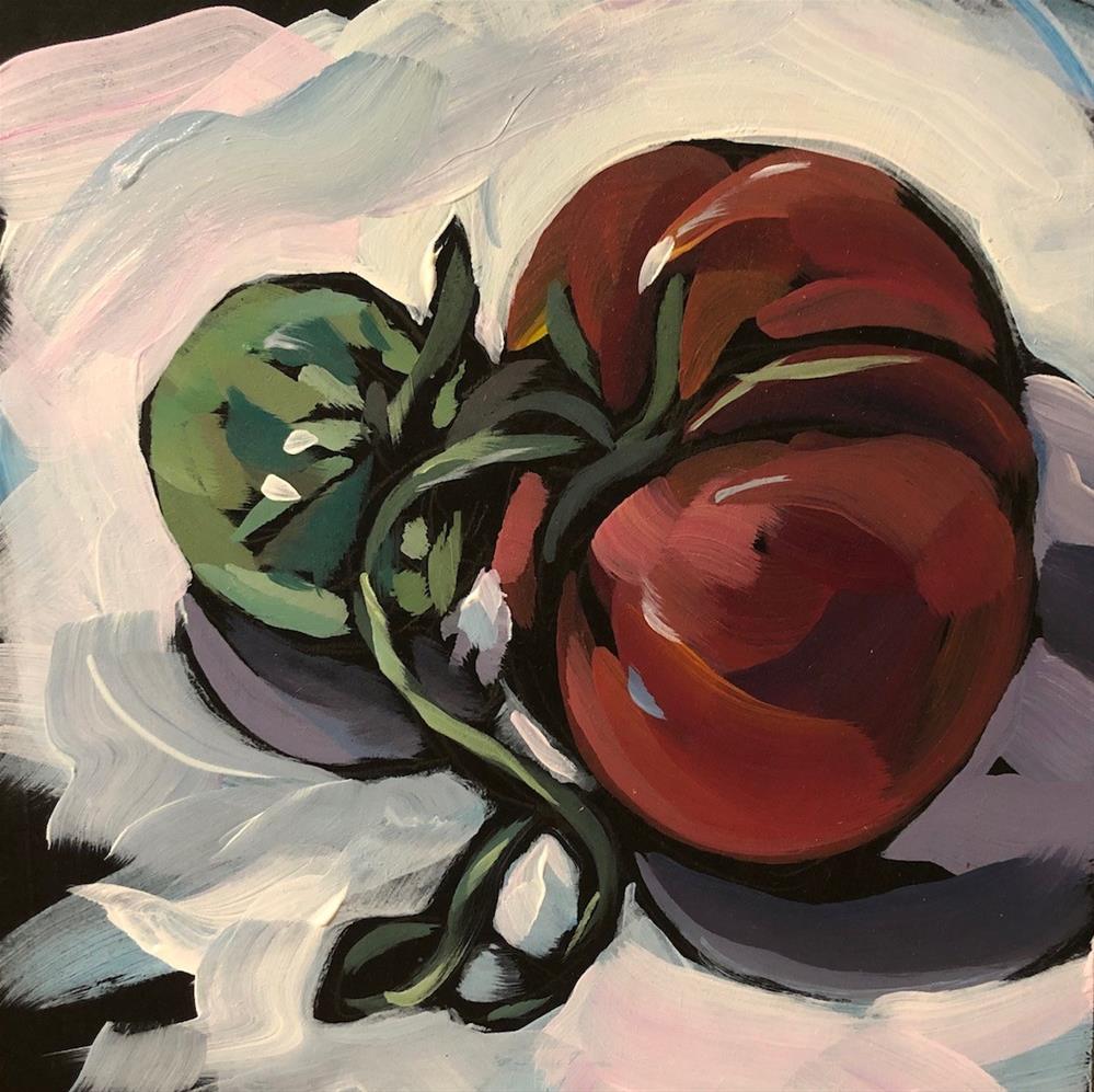 """tomato and friend"" original fine art by Kat Corrigan"