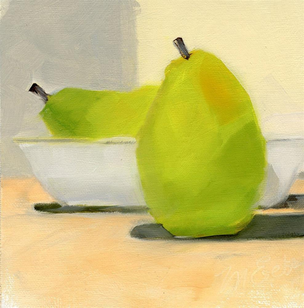 """""""Two Pears and a Bowl"""" original fine art by Mitch Egeberg"""