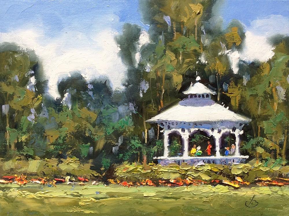 """WHITE GAZEBO, A DAY IN THE PARK"" original fine art by Tom Brown"
