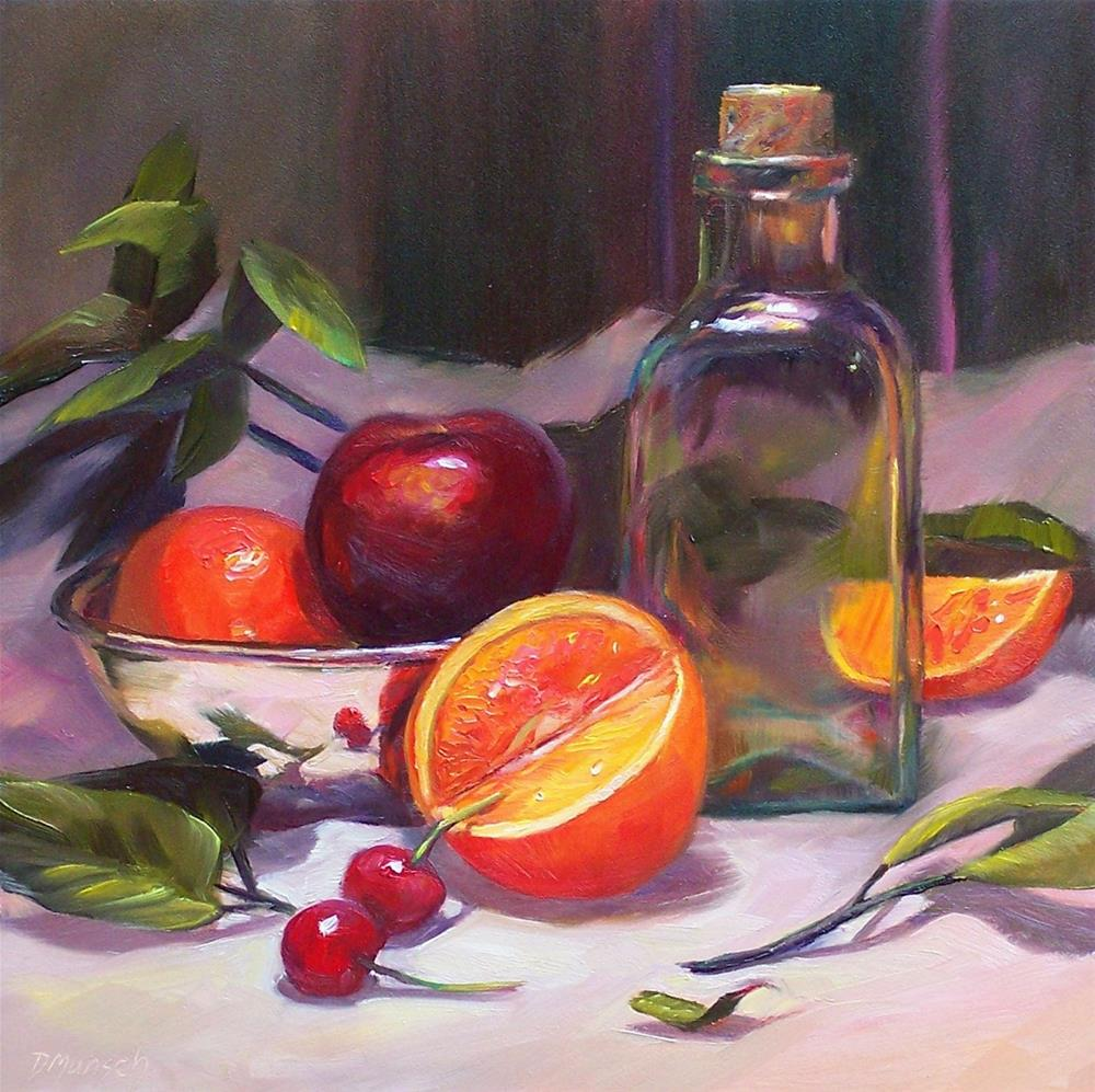 """Glass with Fruit"" original fine art by Donna Munsch"