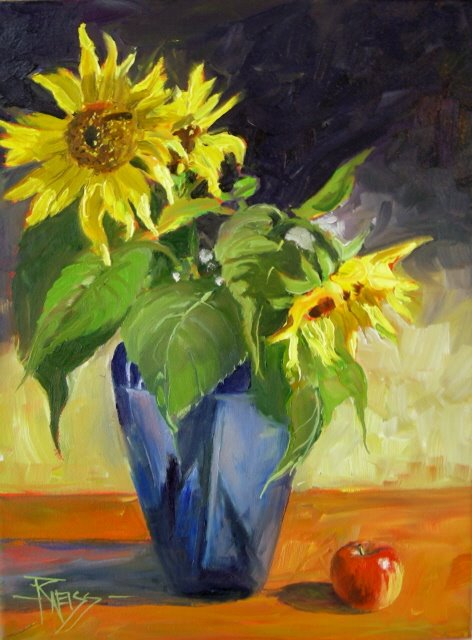 """Last Sunflowers   oil on canvas"" original fine art by Robin Weiss"