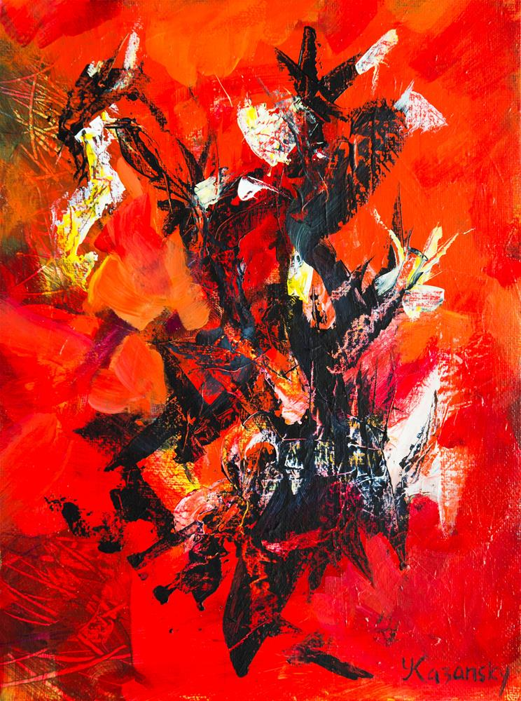 """""""Abstract with Black and Red"""" original fine art by Yulia Kazansky"""