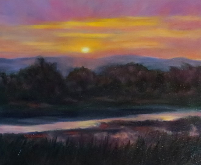 """Missouri River Glow"" original fine art by Carol Zirkle"
