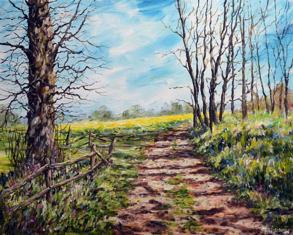 """Path to Canola Fields"" original fine art by Gloria Ester"