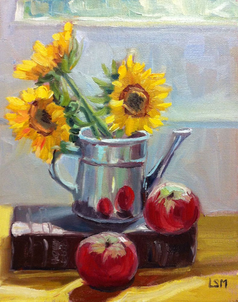 """Sunflowers and Apples"" original fine art by Linda Marino"