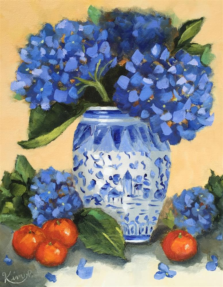 """Hydrangeas in Blue and White vase with clementines"" original fine art by Kim Peterson"