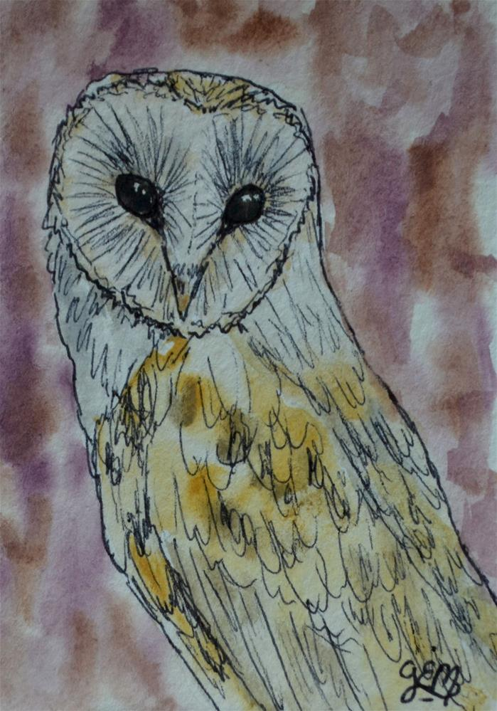 """Barn Owl Watercolor Aceo"" original fine art by Gloria Ester"