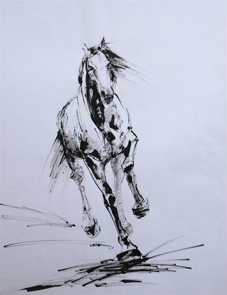 """""""Canter"""" original fine art by Olga Touboltseva-Lefort"""