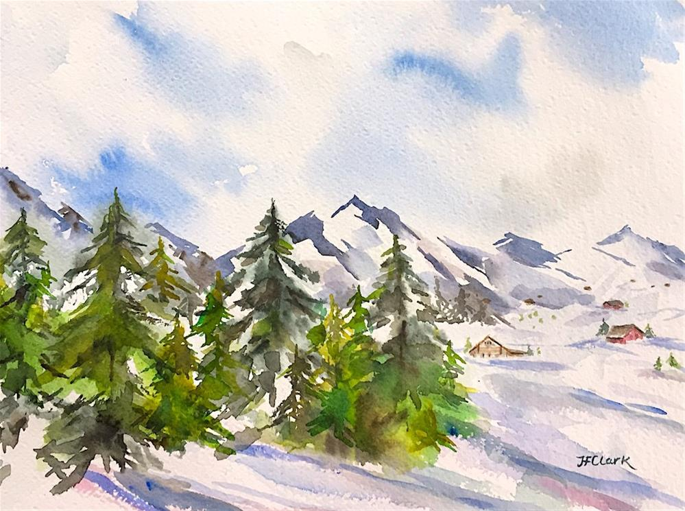 """Winter Evergreens"" original fine art by Judith Freeman Clark"