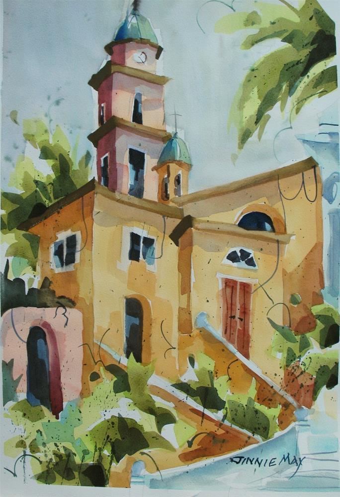 """Camogli-Back of Church"" original fine art by Jinnie May"
