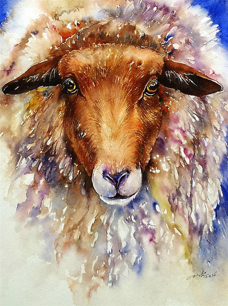 """Shaggy Sheep"" original fine art by Arti Chauhan"