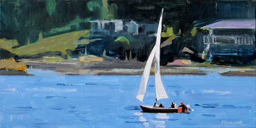 """Sailboat with Red Transom"" original fine art by Gretchen Hancock"