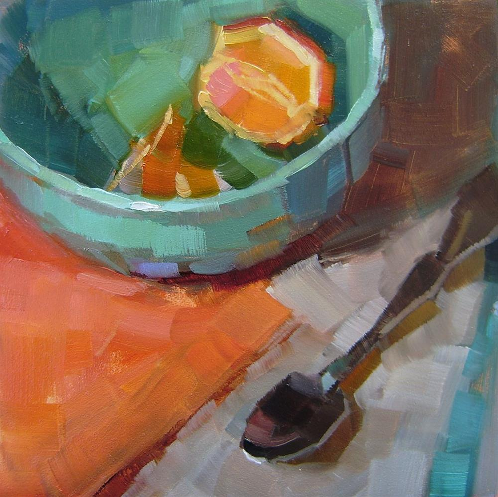 """Blue Bowl with Oranges"" original fine art by Holly Storlie"