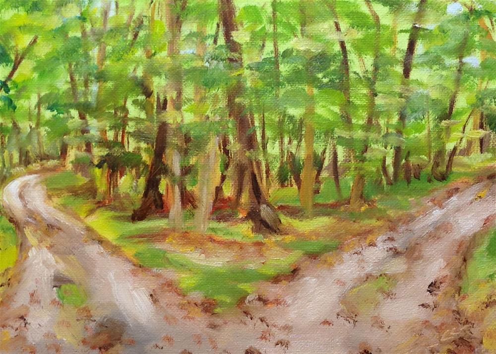 """""""Two Paths Diverged"""" original fine art by Linda Lowery"""