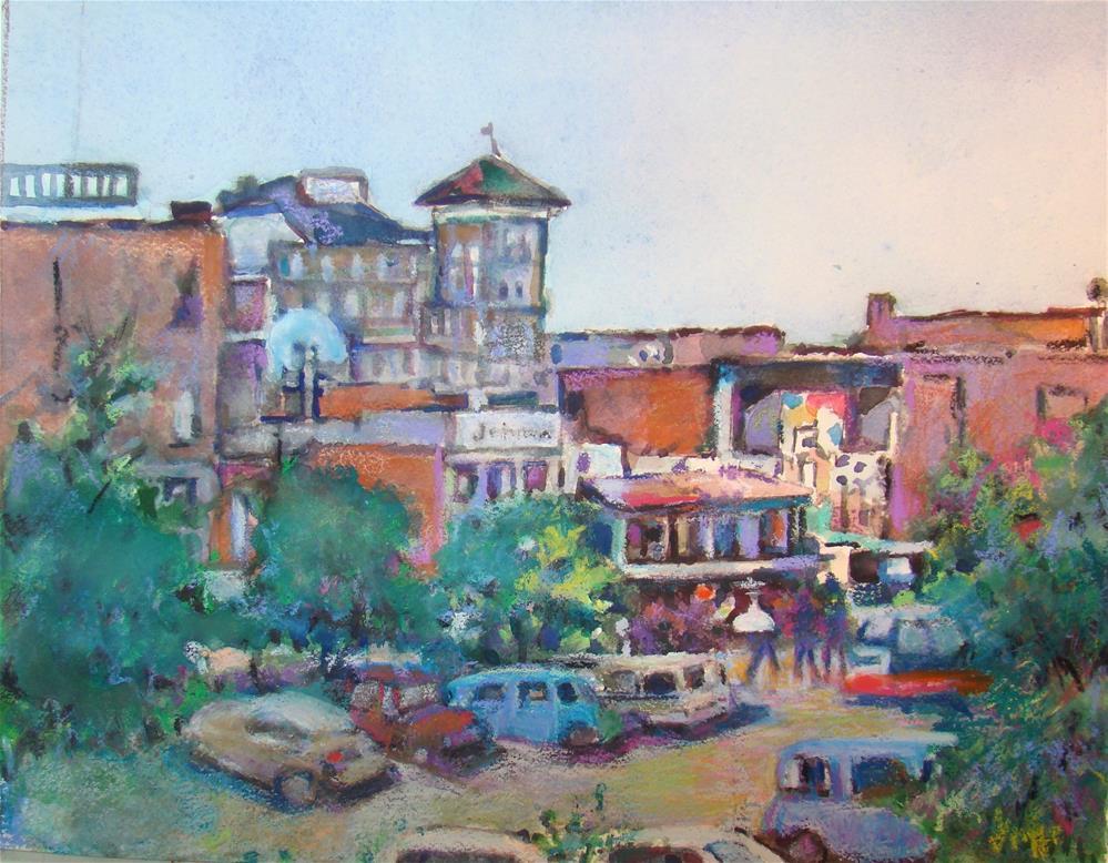"""kenora water front shopping"" original fine art by meribeth coyne"