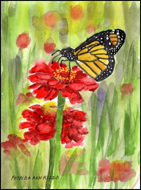 """""""Monarch Butterfly on Red Flowers"""" original fine art by Patricia Ann Rizzo"""