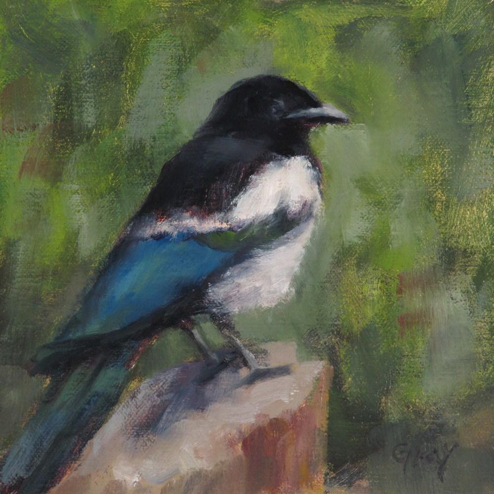 """Magpie on the Log"" original fine art by Naomi Gray"
