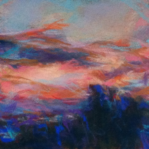"""""""NIGHT OF COLORS - 4 1/2 x 4 1/2 skyscape pastel by Susan Roden"""" original fine art by Susan Roden"""