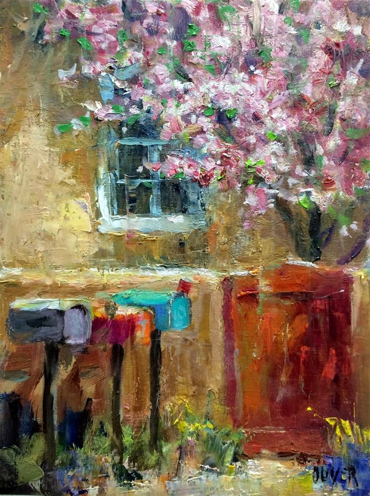 """""""Apple Tree Blossoms and W/S info"""" original fine art by Julie Ford Oliver"""