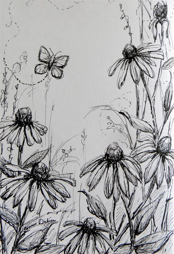 """Butterfly and Coneflowers"" original fine art by Tammie Dickerson"