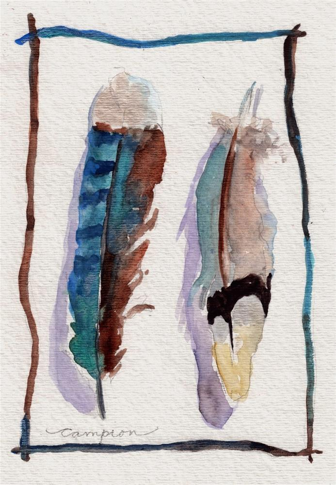 """374 Feathers Side by Side"" original fine art by Diane Campion"