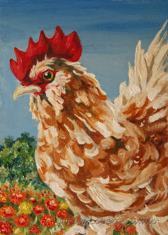 """""""Blending In - Feather Footed Rooster Among Marigolds"""" original fine art by Kim Loberg"""