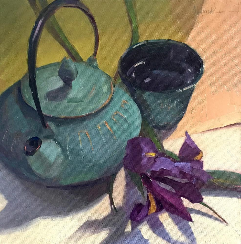 """""""The Green Teapot, and a chance to watch me paint it - live!"""" original fine art by Sarah Sedwick"""