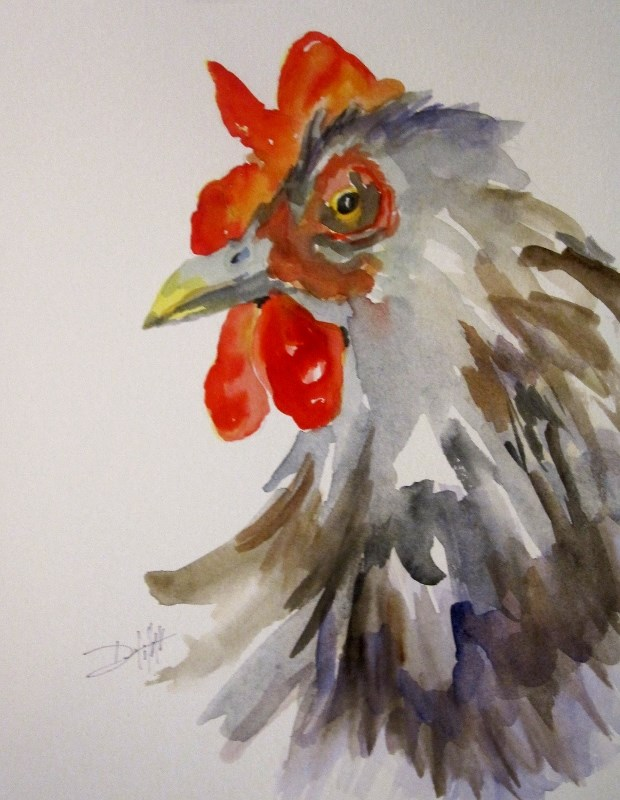 """Rooster No. 17"" original fine art by Delilah Smith"