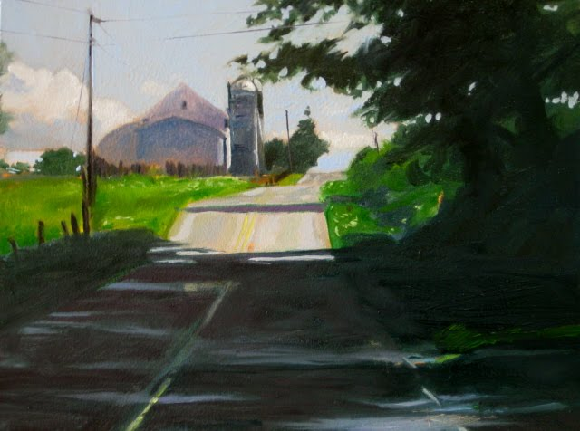 """""""Hilltop Barn  Holmes county Ohio, landscape daily painting"""" original fine art by Robin Weiss"""