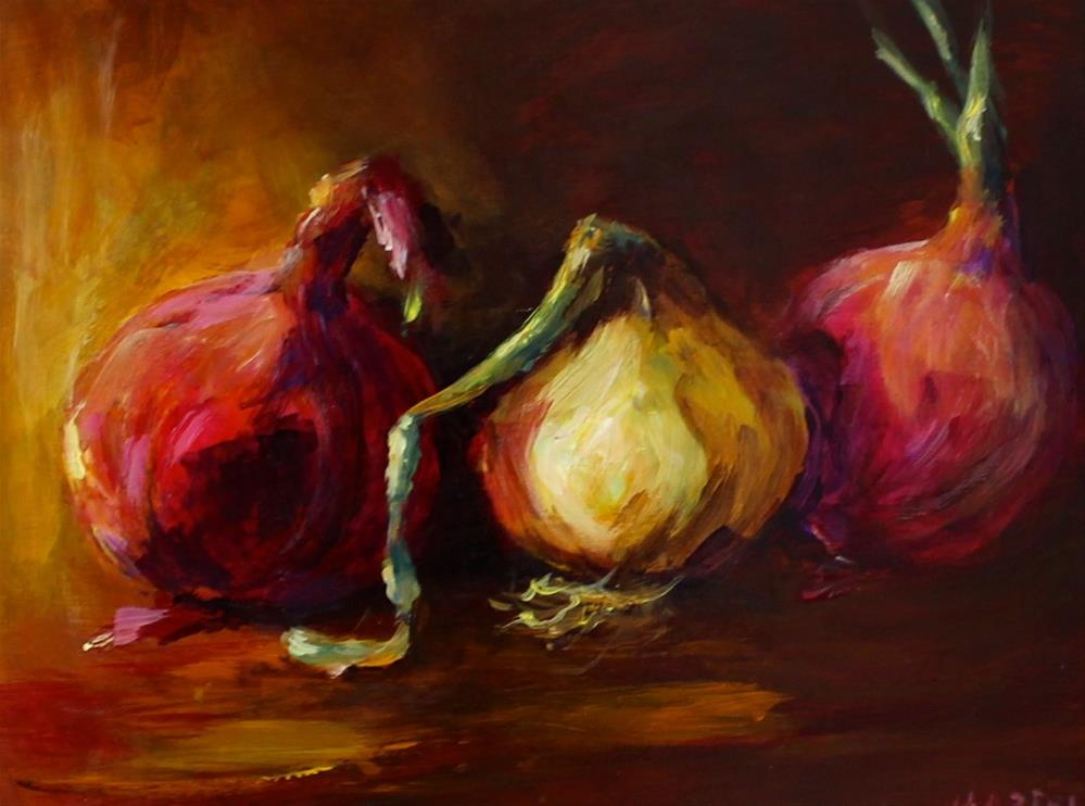 """Original onion still life acrylic art painting vegetable food"" original fine art by Alice Harpel"